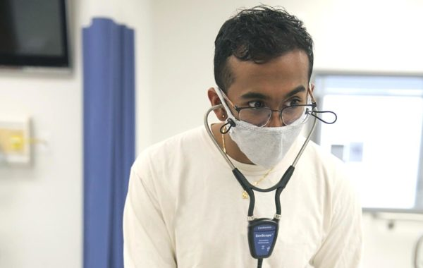 student with stethoscope
